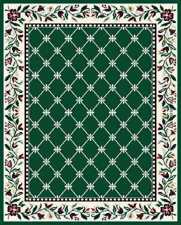 Large Area Rug 40 This Hunter Green Burgandy And Off White