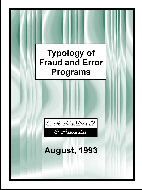 Cover of the Typology of Fraud and Error Programs report
